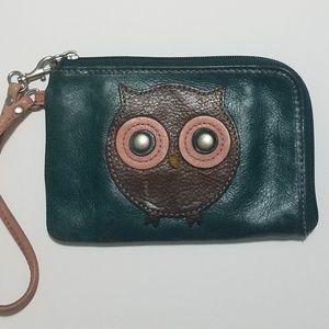 Fossil leather wristlet wallet